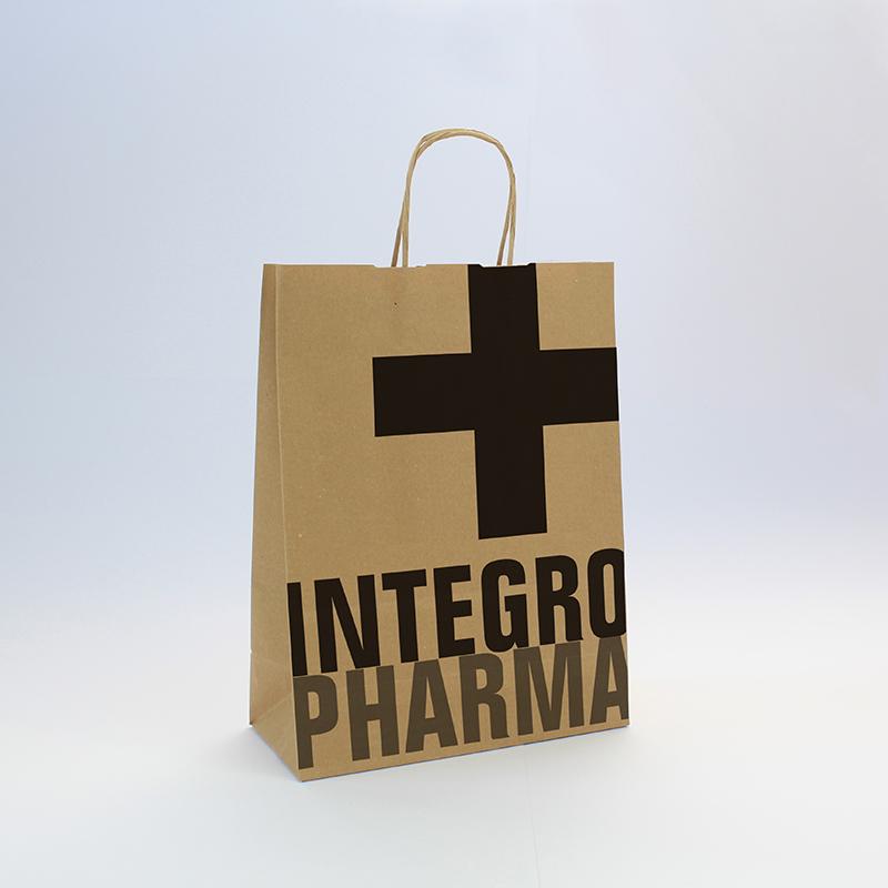 Brintel bolsa de regalo de asa retorcida farmacia papel kraft