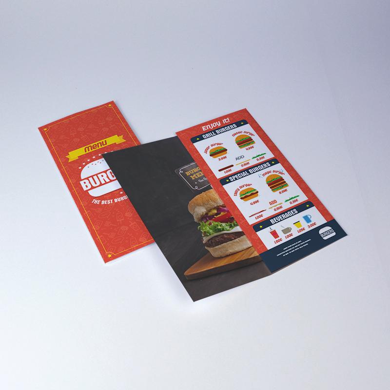Brintel triptico brochure en digital para restaurante burguerdiseño - diseño gráfico - artes gráficas - imprenta - etiquetas - bolsas - packaging - display - imagen - plv