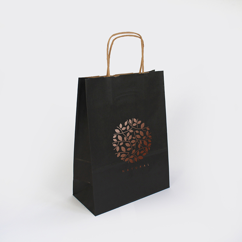 Brintel bolsa de papel asa retorcida color negra